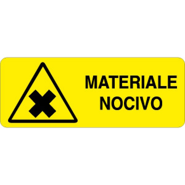 Cartello in alluminio formato mm 330x125 materiale nocivo
