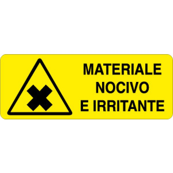 Cartello in alluminio formato mm 330x125 materiale nocivo e irritante (326a)
