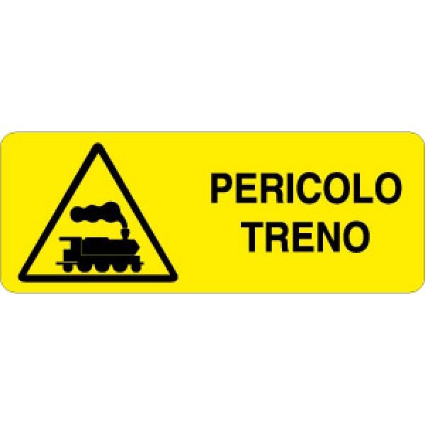 Cartello in alluminio formato mm 330x125 pericolo treno