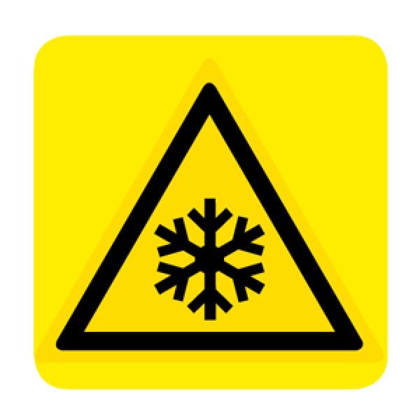 Cartello in alluminio lato mm 150 pittogramma pericolo bassa temperatura