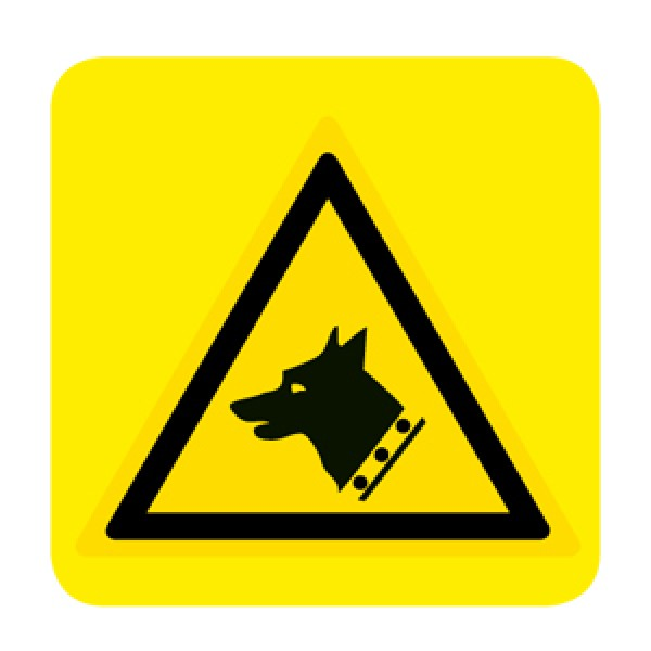 Cartello in alluminio lato mm 150 pittogramma pericolo cane da guardia