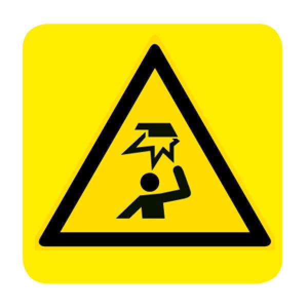 Cartello in alluminio lato mm 150 pittogramma pericolo ostacolo in alto