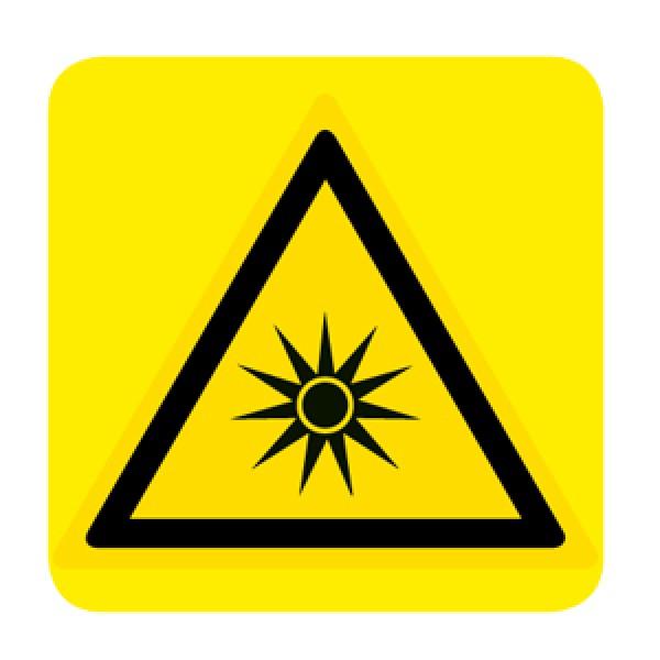 Cartello in alluminio lato mm 150 pittogramma pericolo radiaz.ottiche