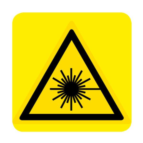 Cartello in alluminio lato mm 150 pittogramma pericolo raggio laser