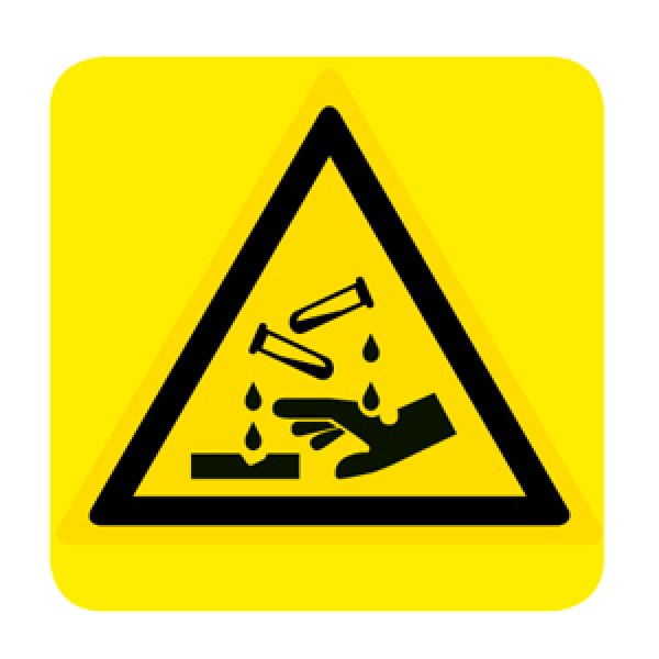 Cartello in alluminio lato mm 150 pittogramma pericolo sostanze corrosive