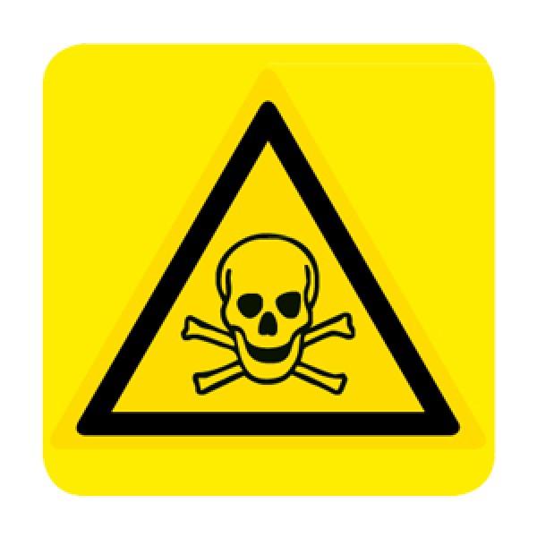 Cartello in alluminio lato mm 150 pittogramma pericolo sostanze tossiche
