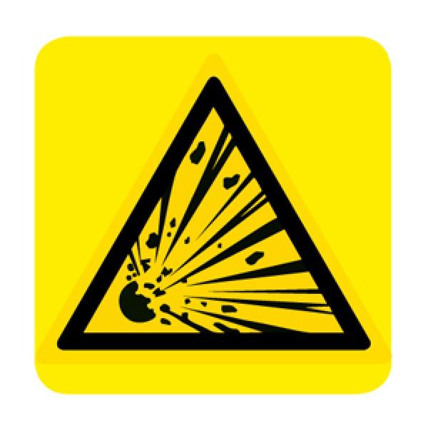 Cartello in alluminio lato mm 250 pittogramma per. mat. esplosivo (w002013m)