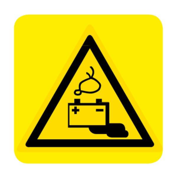 Cartello in alluminio lato mm 250 pittogramma pericolo battenzione in fase di car (w026037m)