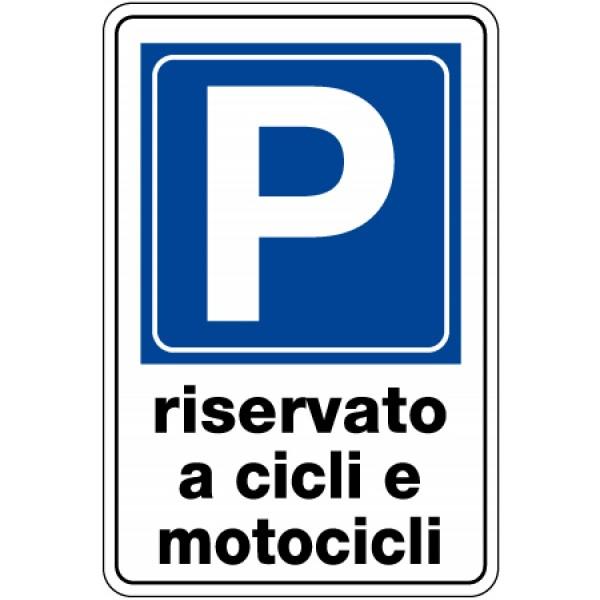 Cartello in alluminio formato mm 250x450 parcheggio riservietato cicli motoc