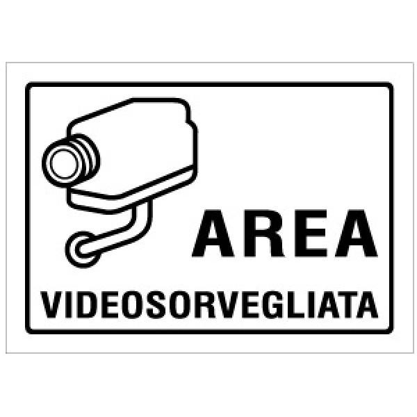 Cartello in alluminio formato mm 150x210 area videosorvegliata (r1414f)