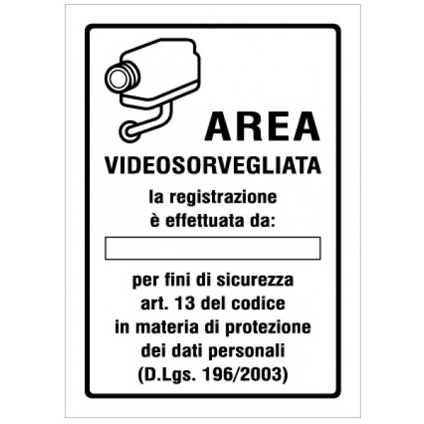 Cartello in alluminio formato mm 150x210 area videosorvegliata registr. (r1415f)