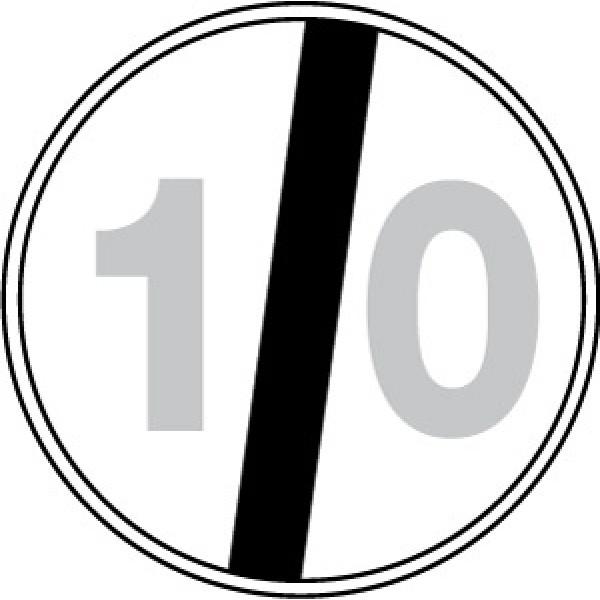 Disco lamiera scatolato rifrangente classe 1 mm 600 - fine limite velocita' 10km/h