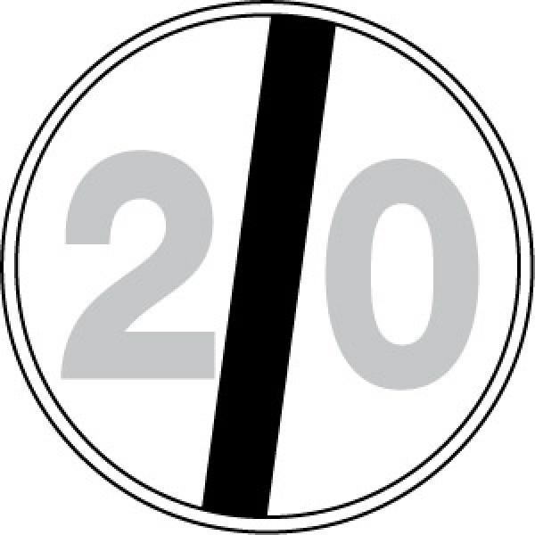 Disco lamiera scatolato rifrangente classe 1 mm 600 - fine limite velocita' 20km/h
