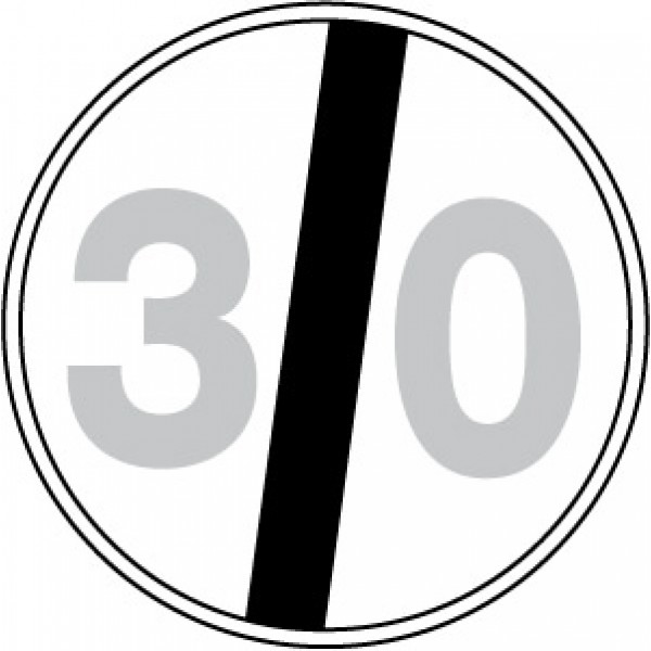 Disco lamiera scatolato rifrangente classe 1 mm 600 - fine limite velocita' 30km/h