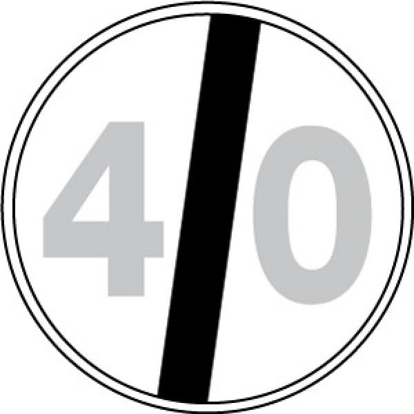 Disco lamiera scatolato rifrangente classe 1 mm 600 - fine limite velocita' 40km/h