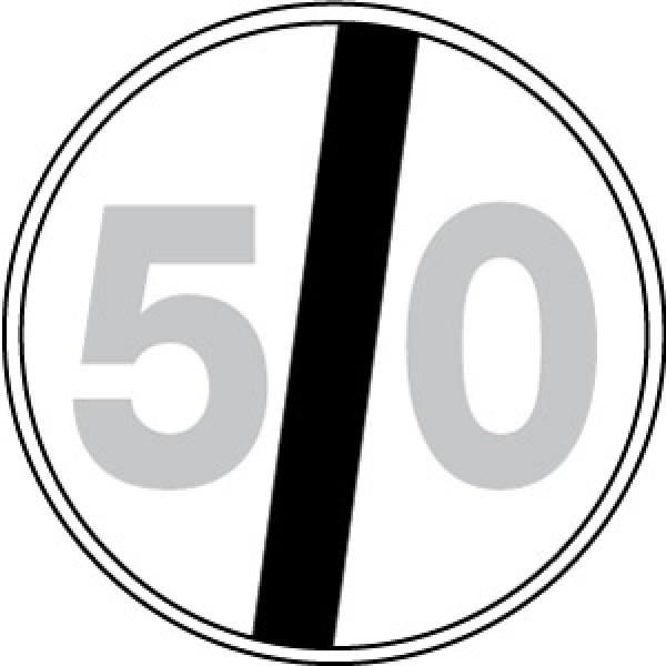 Disco lamiera scatolato rifrangente classe 1 mm 600 - fine limite velocita' 50km/h
