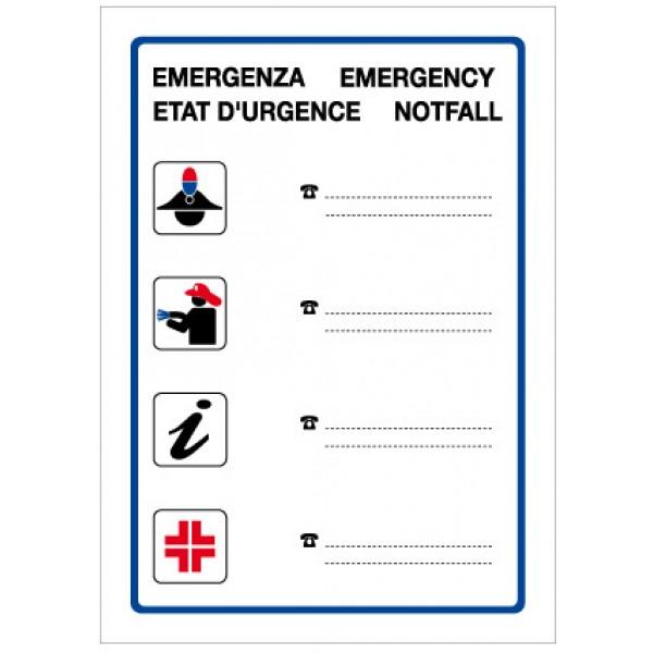 Cartello in alluminio formato mm 150x210 numeri di emergenza