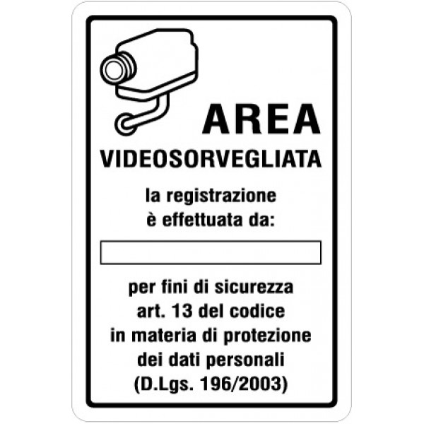 Cartello in alluminio formato mm 200x300 area videosorvietato registr da ..