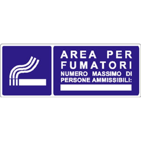 Cartello in alluminio formato mm 330x125 area fumatori n gr persone (1411a)