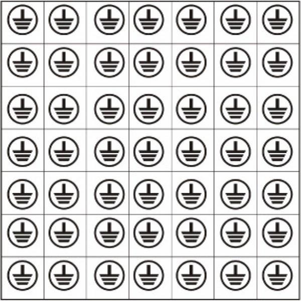 Foglio distributore formato mm 125x125 da 48 et. simbolo terra tondo