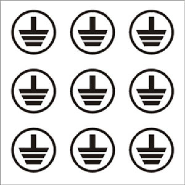Foglio distributore formato mm 125x125 da 9 et. simbolo terra tondo