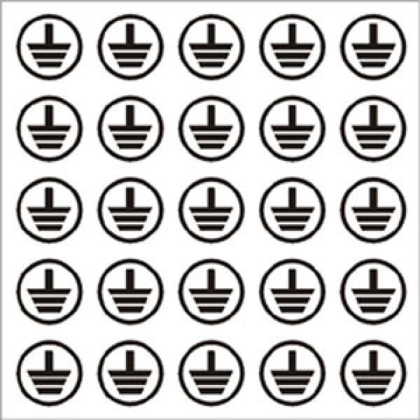 Foglio distributore formato mm 130x130 da 25 et. simbolo terra tondo