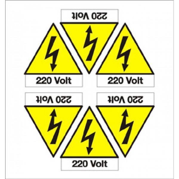 Foglio distributore formato mm 165x175 da 6 et pittogramma folgore+220 volt