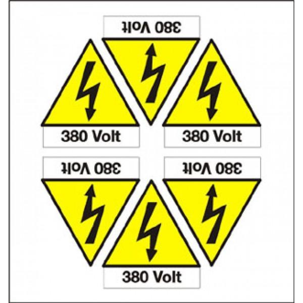 Foglio distributore formato mm 165x175 da 6 et pittogramma folgore+380 volt