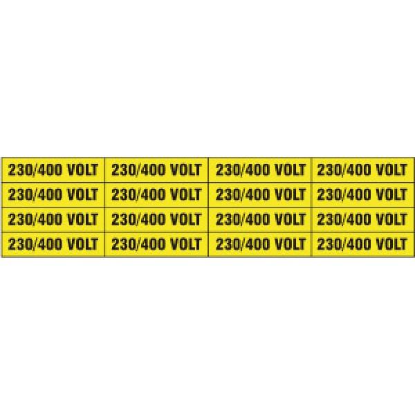 Foglio distributore formato mm 240x60 da 16 etichette 230/400 volt