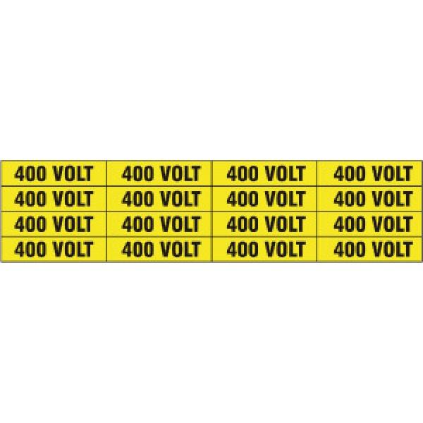 Foglio distributore formato mm 240x60 da 16 etichette 400 volt
