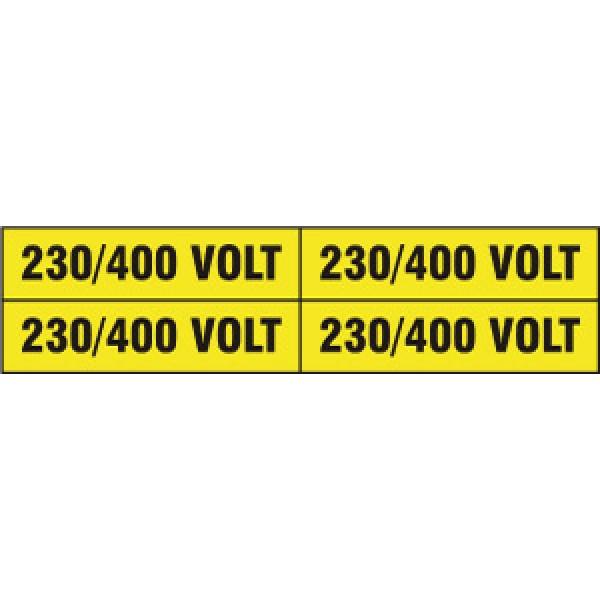 Foglio distributore formato mm 240x60 da 4 etichette 230/400 volt