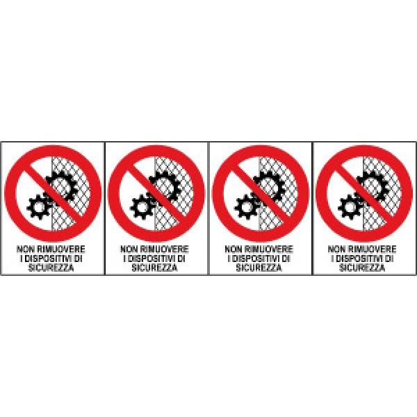 Foglio distributore formato mm 250x80 da 4 et non rimuovere dispositivi sic